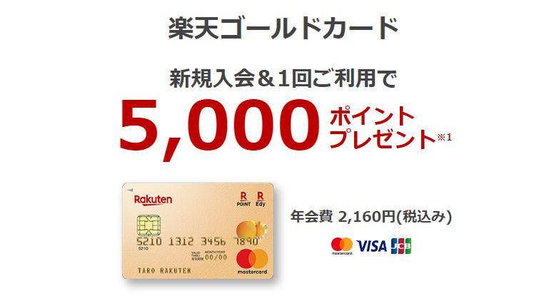 楽天ゴールドカードの入会キャンペーン
