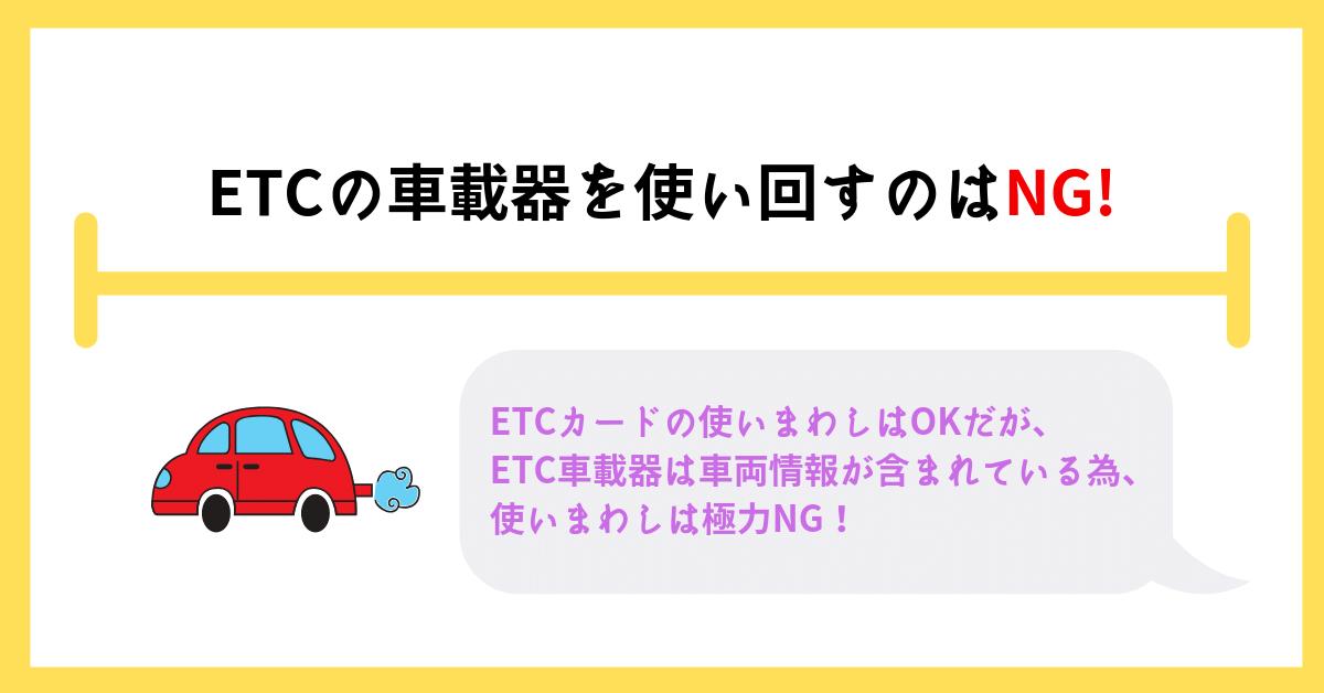 ETC車載器の使い回しはNG